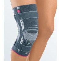 Бандаж для коленного сустава с силиконовым пателлярным кольцом и ремнями GENUMEDI PLUS - серый