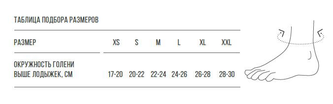 Таблица размеров для бандажа DAN-101