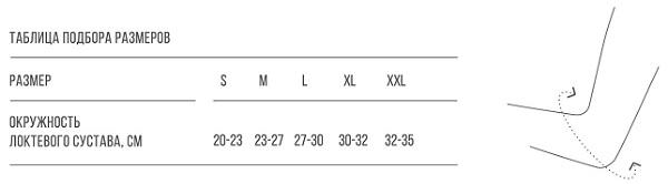 Таблица размера бандажа на локтевой сустав DEL-104